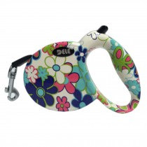 [9.8-feet Long]Retractable Pet Leash Dog Belt Dog Leash Strap Rope-Blue Flower