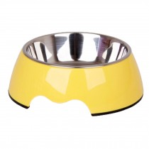 Separable Stainless Steel Dog Bowl Puppy Feeders Pet Bowl Feeding Tray, Yellow