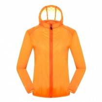 Quick Dry Windproof Skin Coat Super Lightweight UV Protector Jackets,Orange