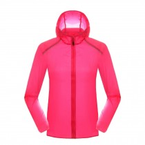 Lightweight Sports Jacket UV Protector Quick Dry Windproof Skin Coat,Rose Red