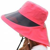 Outdoor Wide Brim Summer Cycling Sun Hat UV Protection Caps With Lens ,Red