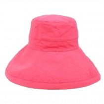 Women's Summer Folding Outdoor Wide Brim Caps Cycling Sun Hat, Red