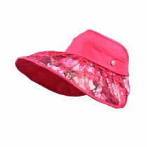Women's Summer Empty Top Hat Lace Wide Brim Sun Hat Cycling Cap, Red