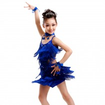 Girls' Party Dancing Dress Latin Dress Costume Split 110cm-120cm,Royalblue