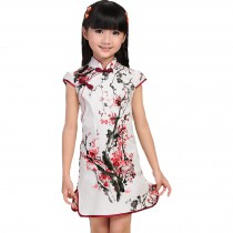 Plum Blossom Children Girls Floral Short Sleeve Cheongsam Dress 120cm