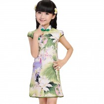 Green Lotus Children Girls Floral Short Sleeve Cheongsam Dress 120cm