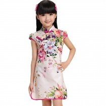 Spring Hibiscus Children Girls Floral Short Sleeve Cheongsam Dress 120cm