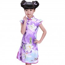 Purple Lotus Children Girls Floral Short Sleeve Cheongsam Dress 120cm