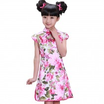Blooming Peony Children Girls Floral Short Sleeve Cheongsam Dress 120cm