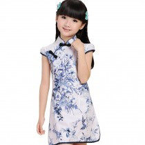 Blooming Flowers Children Girls Floral Short Sleeve Cheongsam Dress 120cm Blue