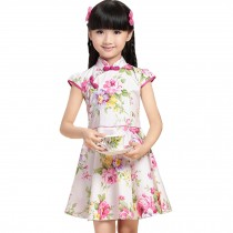 Colorful Flowers Children Girls Floral Short Sleeve Cheongsam Dress 120cm Pink