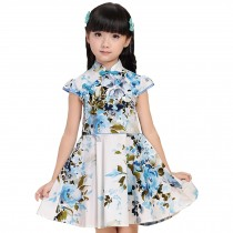 Beautiful Flowers Children Girls Floral Short Sleeve Cheongsam Dress 120cm Blue