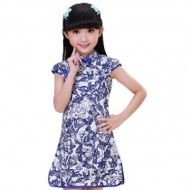 Classic Flowers Children Girls Floral Short Sleeve Cheongsam Dress 120cm Blue