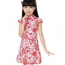 Classic Flowers Children Girls Floral Short Sleeve Cheongsam Dress 120cm Red