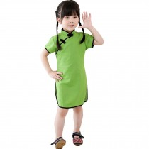 Lovely Children Girls Solid Short Sleeve Cheongsam Dress 120cm Apple Green