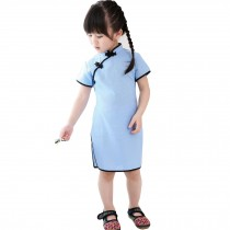 Lovely Children Girls Solid Short Sleeve Cheongsam Dress 120cm Light Blue