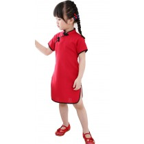 Lovely Children Girls Solid Short Sleeve Cheongsam Dress 120cm Bright Red