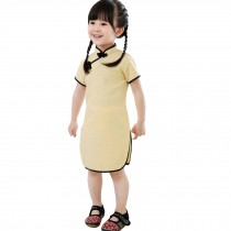 Lovely Children Girls Solid Short Sleeve Cheongsam Dress 120cm Light Yellow