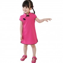 Lovely Children Girls Solid Short Sleeve Cheongsam Dress 120cm Rose Red