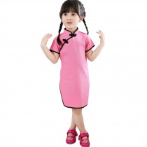 Pretty Children Girls Solid Short Sleeve Cheongsam Dress 120cm Lovely Pink