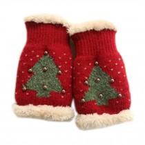 Lovely Women's/Girls Winter Fingerless Knitted Gloves Christmas Tree Pattern, Red