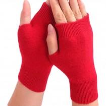 Unisex Outdoor Winter Soft Fingerless Gloves Warm Gloves,Red