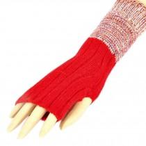 Women's/Girls Winter Fingerless Knitted Gloves Warm Gloves, Red