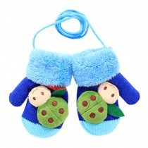 1 Pair Kids' Winter Glove Knitted Mittens With Sling(1-3 Years) Beetle Royalblue
