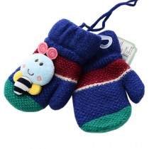 1 Pair Kids' Winter Glove Knitted Mittens With Sling(0-3 Years) Bee Royalblue