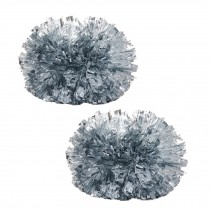 Colorful Large Plastic Baton Handle Cheerleading Poms 120g (Pair), Silver