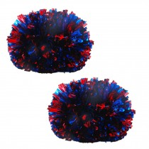 Colorful Large Plastic Baton Handle Cheerleading Poms 120g (Pair), Red+Blue