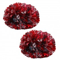 Colorful Large Plastic Baton Handle Cheerleading Poms 120g (Pair), Red+Sliver