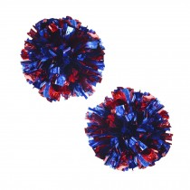 Set of 2 Plastic Ring Pom Metallic Cheerleading Poms 100g Red+Blue