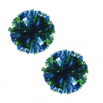 Set of 2 Plastic Ring Pom Metallic Cheerleading Poms 100g Green+Blue