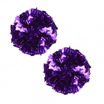 Set of 2 Plastic Ring Pom Metallic Cheerleading Poms 100g Purple