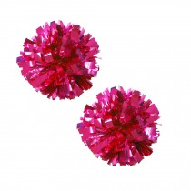 Set of 2 Plastic Ring Pom Metallic Cheerleading Poms 100g Rose