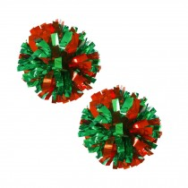 Set of 2 Plastic Ring Pom Metallic Cheerleading Poms 100g Red+Green