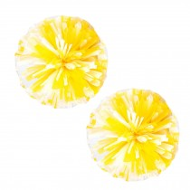 Set of 2 Plastic Ring Pom Matt Cheerleading Poms Yellow/White