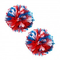 Set of 2 Plastic Ring Pom Matt Cheerleading Poms Red/White/Blue