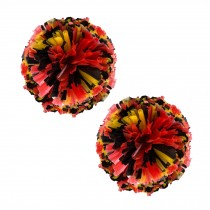 Set of 2 Plastic Ring Pom Matt Cheerleading Poms Red/Black/Yellow