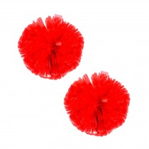 Set of 2 Plastic Ring Pom Matt Cheerleading Poms Red