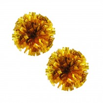 Set of 2 Plastic Ring Pom Metallic Cheerleading Poms 100g Gold