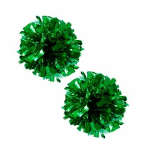 Set of 2 Plastic Ring Pom Metallic Cheerleading Poms 100g Green