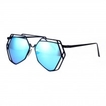 Modern Polygon Fashion Eyewear Full Metal Frame Colored Lens Sunglasses, Blue