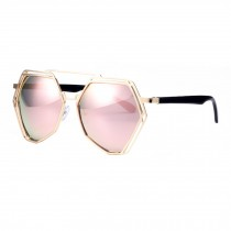 Modern Polygon Eyewear Metal Frame Colored Lens Sunglasses, Pink