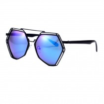 Popular Mirrored Lens Polygon Eyewear Metal Frame Sunglasses, Blue