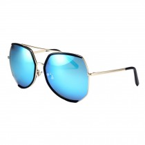 Unique Style Oversize Eyewear Flash Mirror Lens Sunglasses, Blue