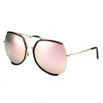 Oversize Unique Style  Eyewear Flash Mirror Lens Sunglasses, Pink