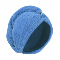 Microfiber Hair Drying Towel Bath Head Wrap Quick Dry Hat Cap - Blue