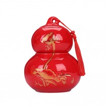 New Gourd Shaped Ceramic Tea Coffee Container Tea Storage Jar Tea Canister, RED